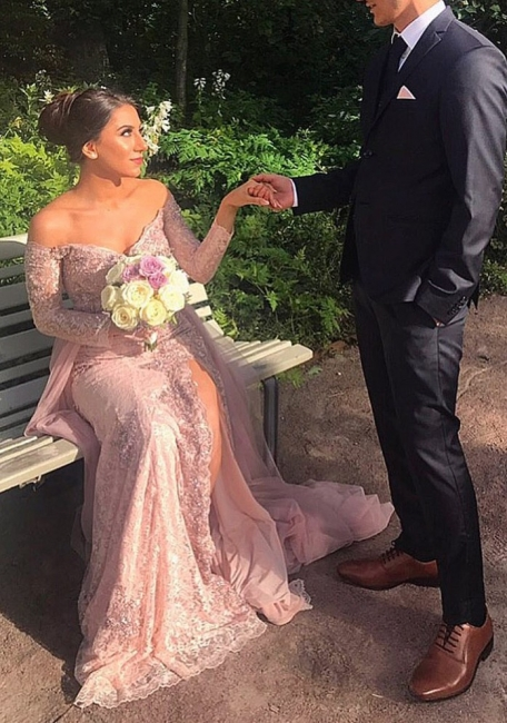 Elegant pink evening dresses with sleeves lace evening wear prom dresses cheap