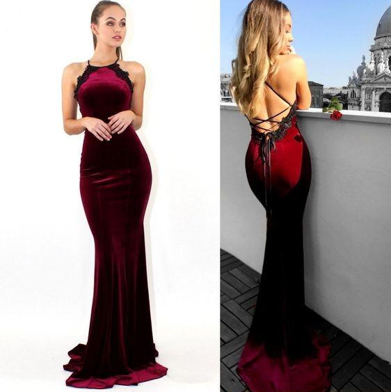 Weinrote Abendkleider Lang Günstig Meerjungfrau Grüne Abiballkleider Online