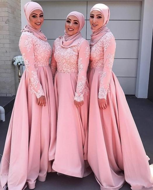 Pink Bridesmaid Dresses Long Sleeves Muslim Satin Dresses For Bridesmaids