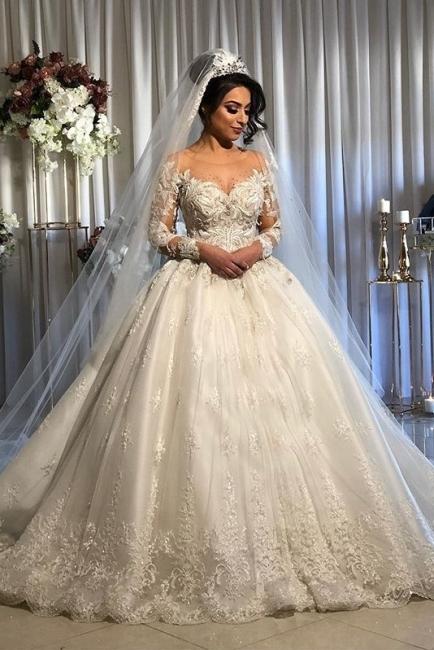 Luxus Brautkleider Prinzessin | Spitze Hochzeitskleider Mit Ärmel