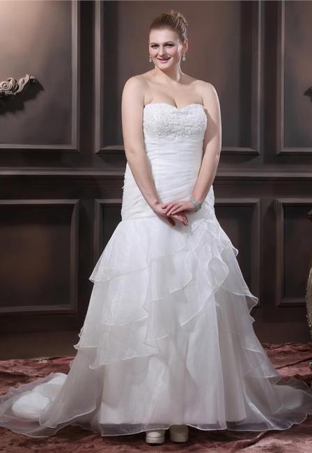 Weiß Brautkleider Übergroße Organza Meerjungfrau Hochzeitskleider Große Größe Nach Mäßig
