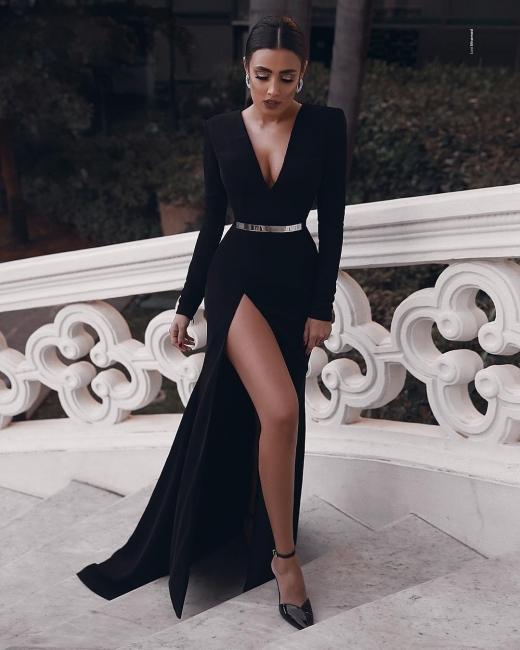 Elegant Evening Dresses Long Black | Prom dresses with sleeves online