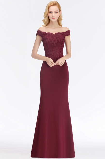 Wine red simple evening dresses long cheap with lace prom dresses online