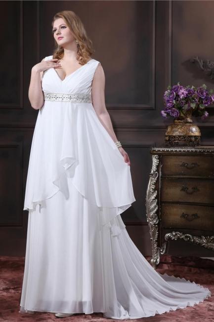 Brautkleider Standesamt Große Größen Weiß Chiffon Träger Übergröße Hochzeitskleider