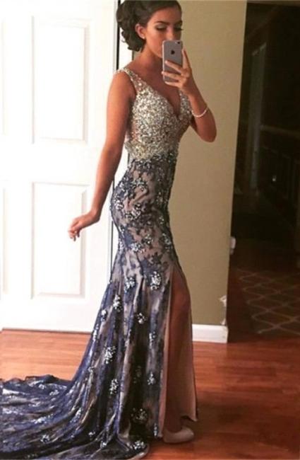 Purple Evening Dresses Long Lace Cheap Mermaid Crystal Evening Wear Prom Dresses