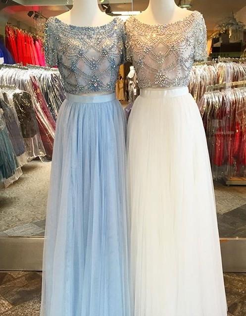 White Two Piece Evening Dresses Long Light Blue Beaded Sheath Dresses Evening Wear Kafuen Online