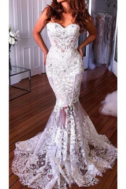 Designer White Wedding Dresses Lace | Elegant wedding dresses onlien