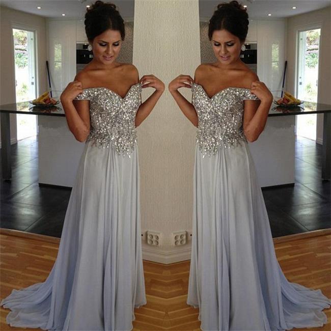 Silber Brautmutterkleider Lang Tüll Meerjungfrau Perlen Kleider Brautmutter Abendkleid