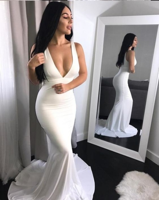 Festive white evening dresses long cheap mermaid prom dresses for sale