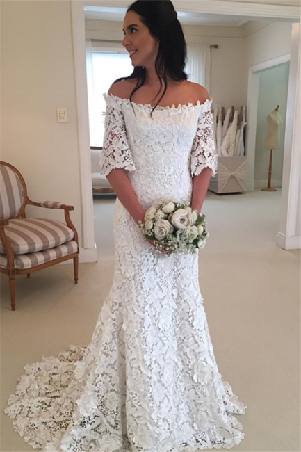 White simple wedding dress lace with sleeves mermaid wedding dresses cheap