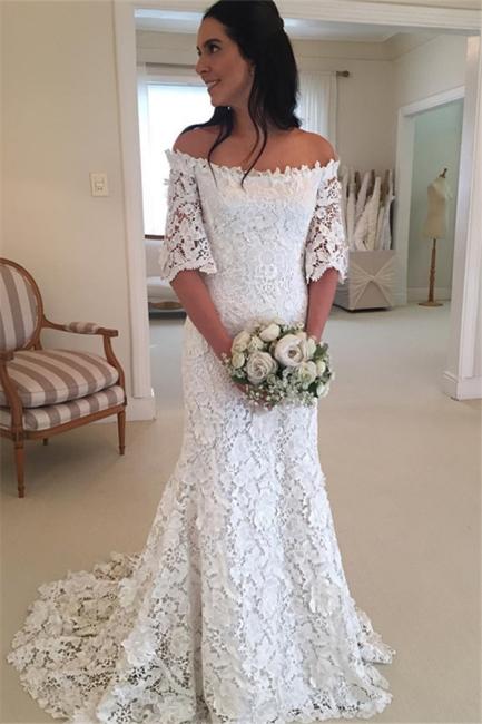 Weiße Schlichtes Brautkleid Spitze Mit Ärmel Meerjungfrau Hochzeitskleider Günstig