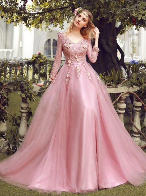 Elegant Pink Evening Dresses Lace With Sleeves Tulle Prom Dresses Evening Wear Online