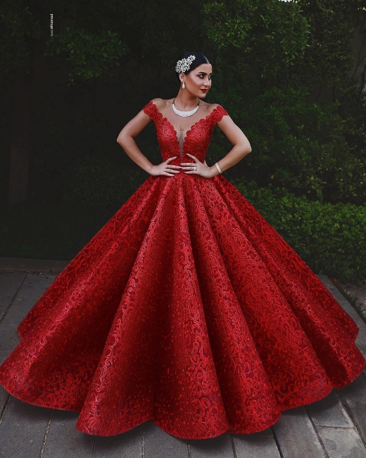 Mordene Red Evening Dresses Long Cheap A Line Lace Evening Wear Online