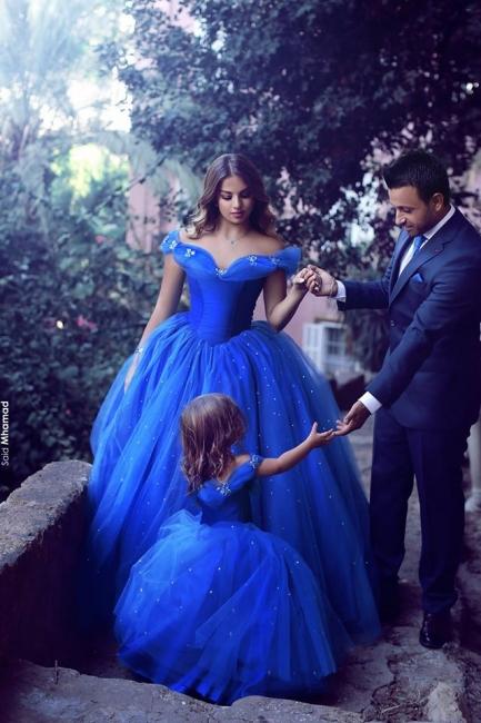 Blau Blumenmädchenkleider Lang Perlen Organza Kinder Kleider Für Blumenmädchen