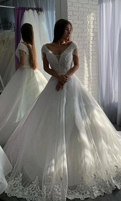 Designer wedding dresses A line | Elegant wedding dresses with lace