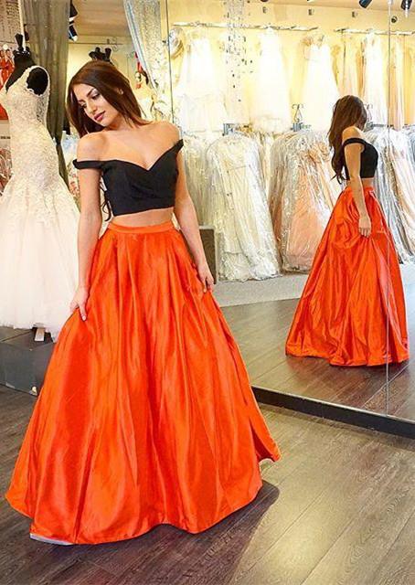 Orange Schwarz Abschlussballkleider Lang Taft Abendmoden Abiballkleider