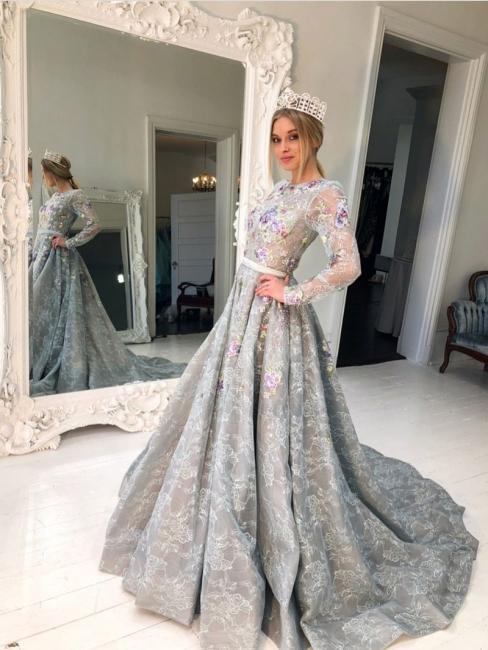 Designer Silber Abendkleider Long Spitze Mit Ärmel A Linie Abendmoden Abiballkleider