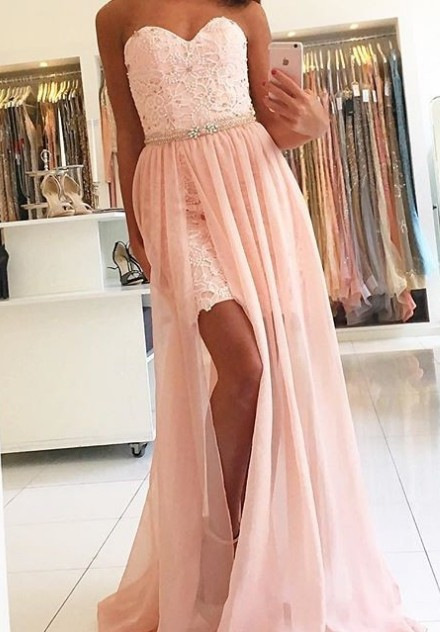 Pink evening dresses lace chiffon floor-length evening wear online cheap