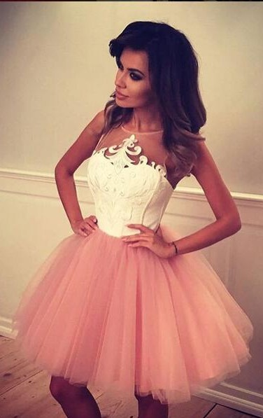 White Pink Cocktail Dresses Short Straps A Line Prom Dresses Party Dresses