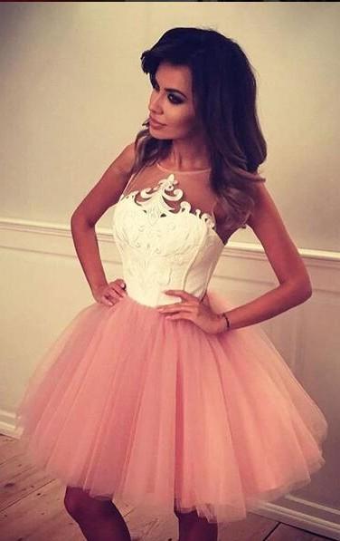 White Pink Cocktail Dresses Short Straps A Line Prom Dresses Party Dresses