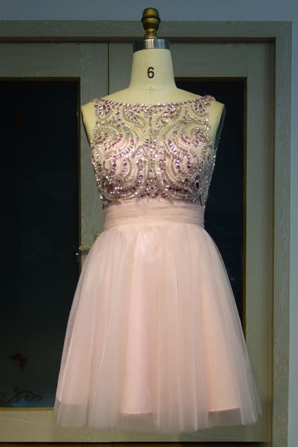 Pink Cocktail Dresses Short Beaded A Line Tulle Evening Dresses Prom Dresses