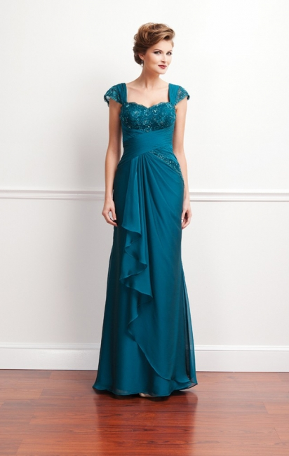 Turquoise Long Mother of the Bride Dresses Lace Straps Chiffon Dresses for Mother of the Bride