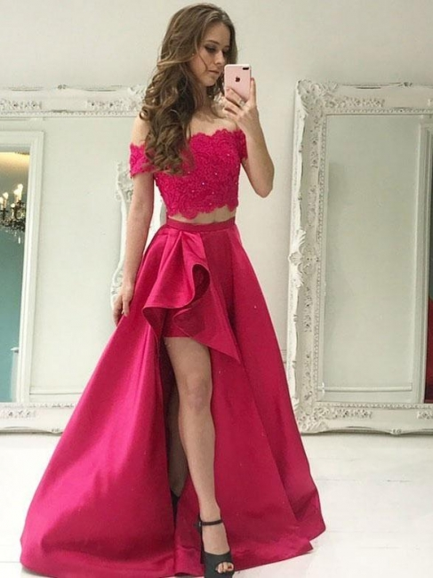 Elegant fuchsia evening dresses long lace with short sleeves 2 piece evening fashions