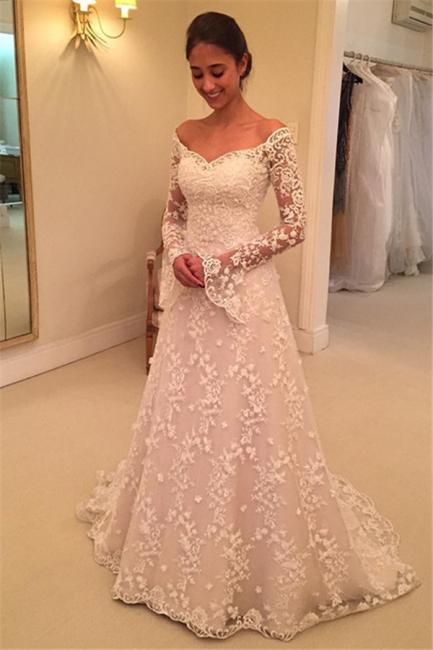 Fashion Hochzeitskleider Für Mollige mit Ärmel Günstige Brautkleider A Linie
