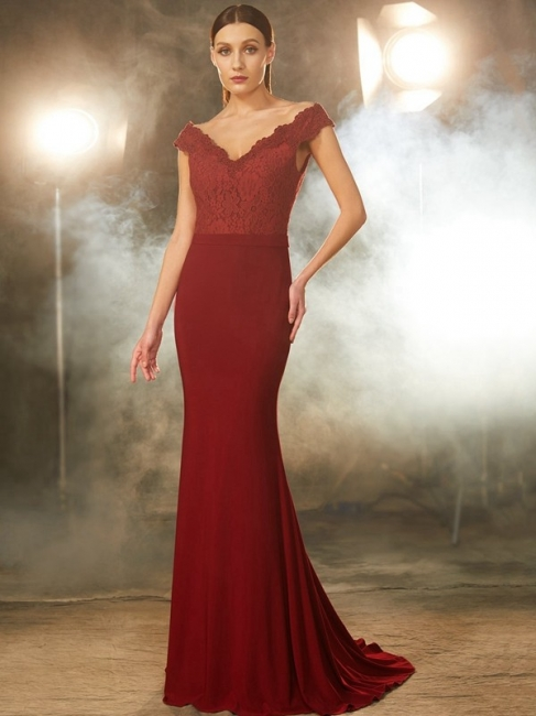 Elegant Evening Dress Wine Red Chiffon Long Evening Dresses With Lace
