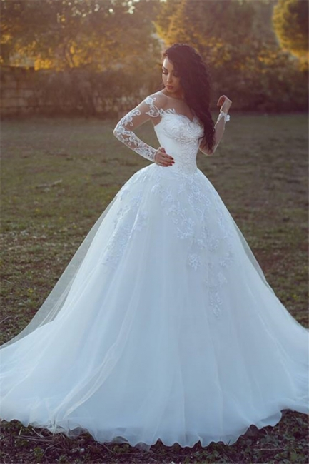 White Wedding Dresses Long Sleeves With Lace A Line Tulle Bridal Wedding Gowns