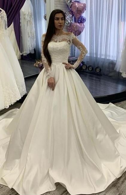 Designer Brautkleider A linie Mit Ärmel | Spitze Hochzeitskleider