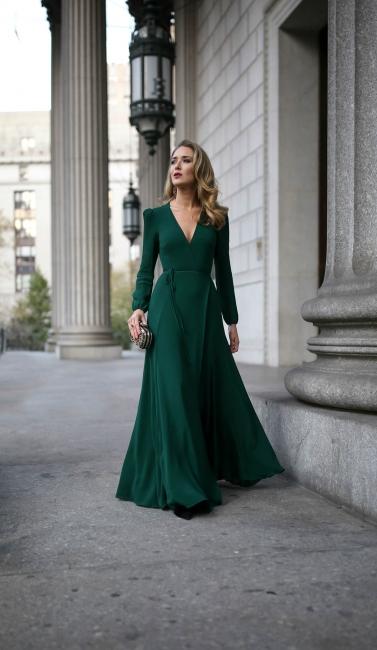 Dunkel Grün Abendkleider Lang Mit Ärmel | Abiballkleider Günstig Online