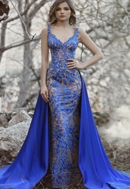 Royal Blue Evening Dresses Long Lace | Evening wear with lace