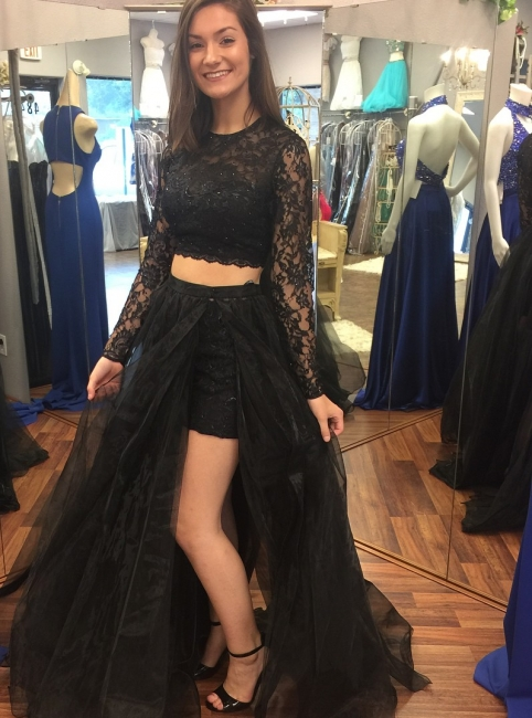 Black evening dresses long with sleeves evening wear with lace 2 pieces