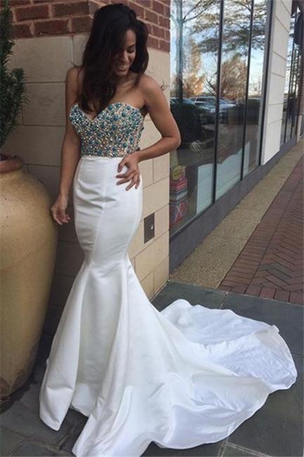 Weiß Abendkleider Meerjungfrau lange Abschlussballkleider Perlen Ballkleider