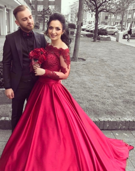 Buy fashion red wedding dresses with sleeves lace a line wedding dresses online