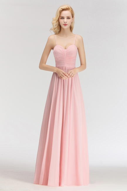 Sexy Bridesmaid Dresses Chiffon Long Pink Sheath Dresses For Wedding