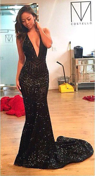 Elegant Black Long Evening Dresses Sequins Mermaid Evening Wear Prom Dresses Cheap
