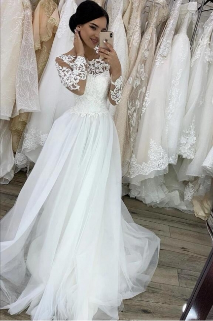 White wedding dresses A line | Lace wedding dresses with sleeves