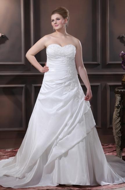 Schicke Brautkleider Große Größen A Linie Taft Übergrößen Hochzeitskleider Nach Mäßig