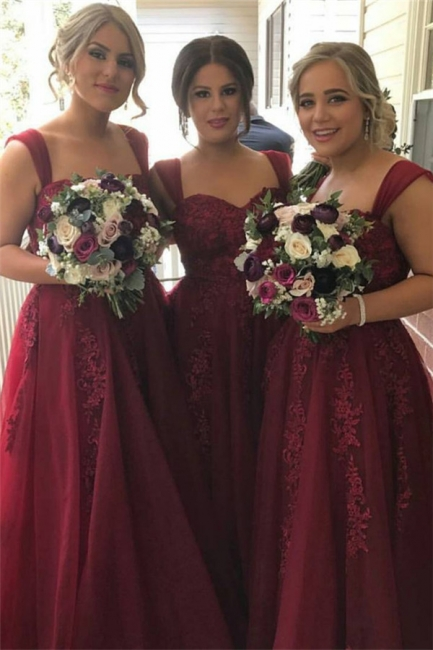 Cheap Red Long Bridesmaid Dresses Lace Strap Dresses For Bridesmaids Online