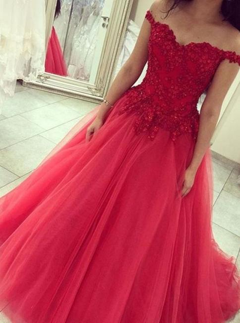 Prinzessin Rot Abschlussballkleider Lang Mit Spitze Schulterfrei Tüll Abendmoden Abiballkleider