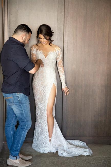 Elegante Brautkleider Lang Ärmel Spitze 2 Teilige Brautmoden Hochzeitskleider Online