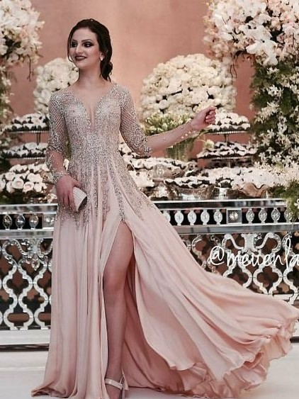 Luxury champagne evening dresses long chiffon floor-length evening wear prom dresses with sleeves cheap