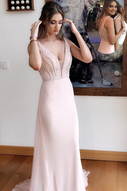 Designer Pink Evening Dress Chiffon Long Cheap Evening Wear Evening Dresses Online