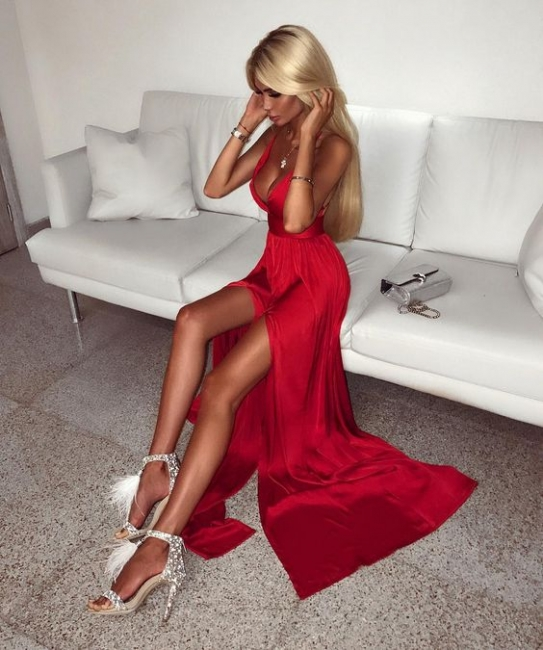 Red Evening Dresses Long Online V Neck Sheath Dresses Prom Dresses Cheap