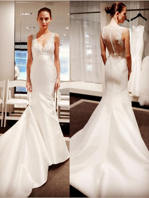 New White Wedding Dresses With Lace V Neckline Satin Mermaid Bridal Wedding Gowns