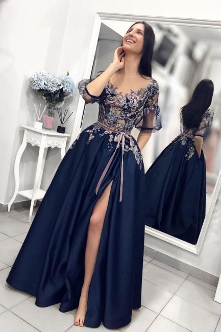 Elegant evening dresses with sleeves blue | Evening wear with lace