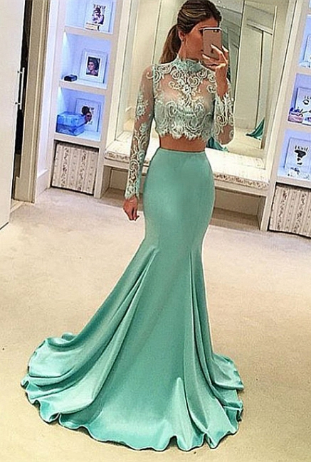 Green Evening Dresses Long Sleeves Lace Mermaid Satin Evening Wear Prom Dresses