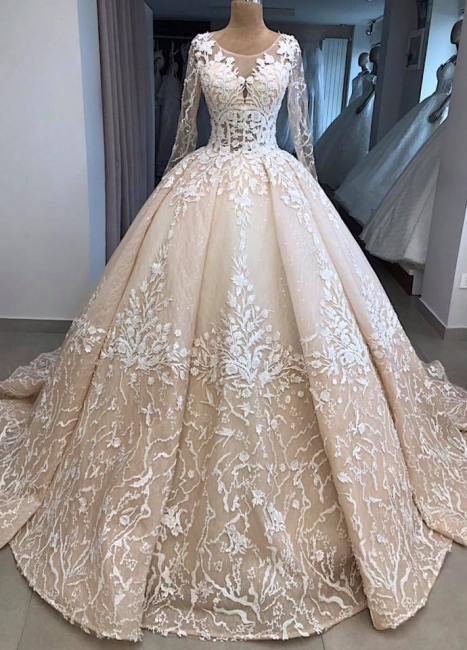 Fashion princess wedding dress lace | Wedding dress with sleeves
